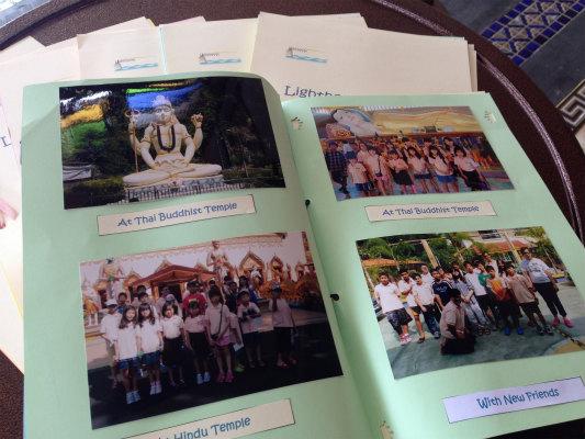 クラフトの授業で作ったスクラップブック。フィールドトリップや友達との写真を自由に貼って作りました。最後のページには、担任の先生からのfeedbackも。